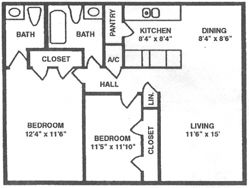 Two Bedrooms - One & Half Bath