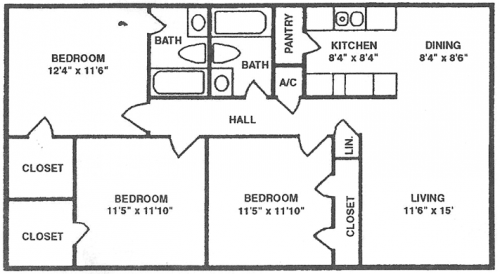 Three Bedroom - Two Bath